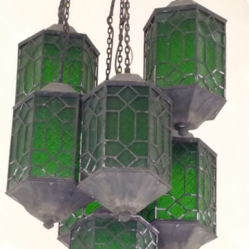Glass lanterns hanging in the entrance to the museum