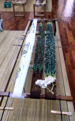 Ikat threads being prepared